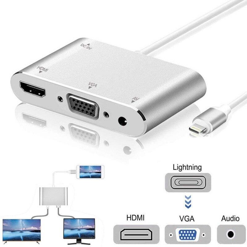 Venda quente Conversor Para Relâmpago para VGA HDMI Audio Jack cabo Adaptador de TV a Cabo Para o iphone X iPhone 8 7 7 além de 6 6S Para A Série iPad