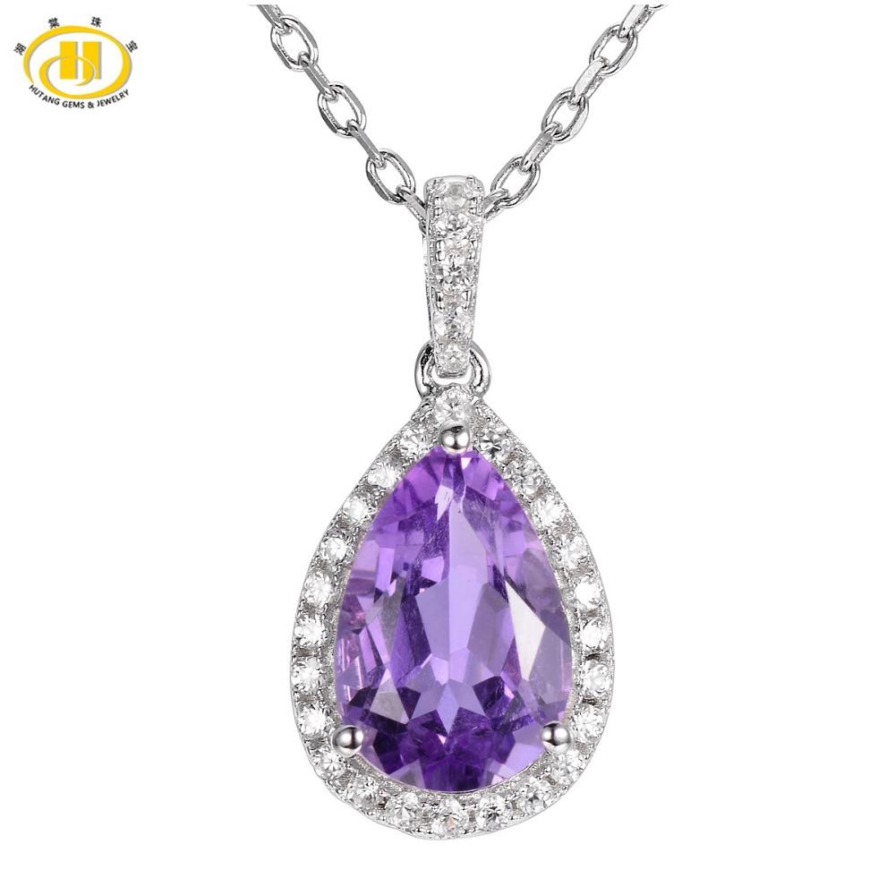 Hutang Trendy Natural Brazlian Amethyst Pendant Solid 925 Sterling Silver Necklace Fine Jewelry Necklace For Women Birthday Gift trendy solid color heart pendant necklace for women