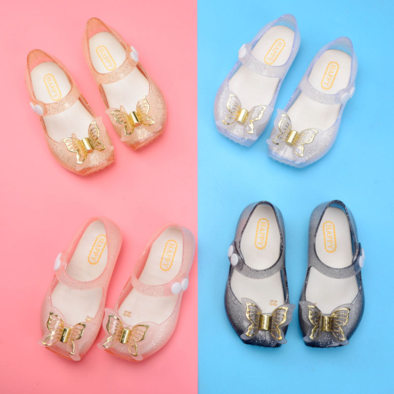 Crystal Mini Melissa Jelly Shoes Children Sandals for Girls Rubber Shoes Kids Summer Child Beach Princess Butterfly Shoese