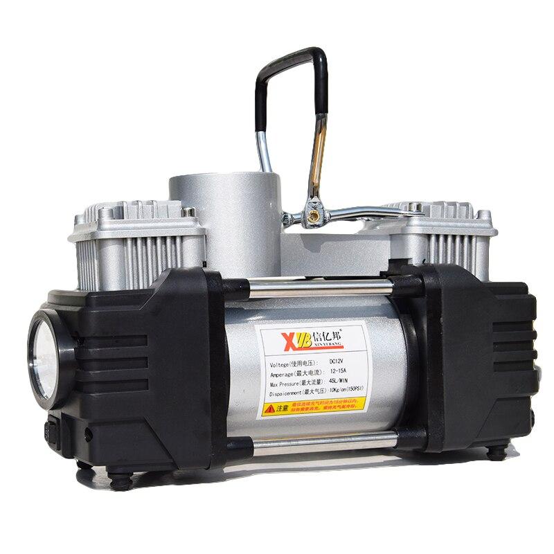 Xinyibang двойной цилиндр автомобильный компрессор с светодио дный свет DC12V Портативный хорошее качество ручной автомобиль воздушный насос с с...