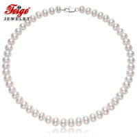 FEIGE Classic Style 9 10mm Oval White Natural Freshwater Pearl Necklaces For Women Bridal Necklaces Good