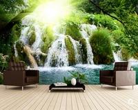 Custom Natural Scenery Wallpaper Waterfall 3D Photo Mural For Living Room Restaurant Sofa Background Wall Waterproof