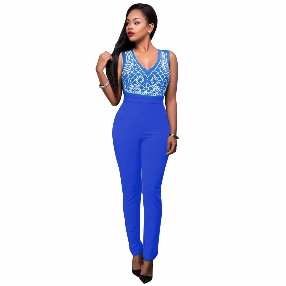 2017 New Summer Women Jumpsuit Bandage Black Bodysuit V-Neck Sleeveless Print Zipper Back Sexy Bodycon Jumpsuits And Rompers 18