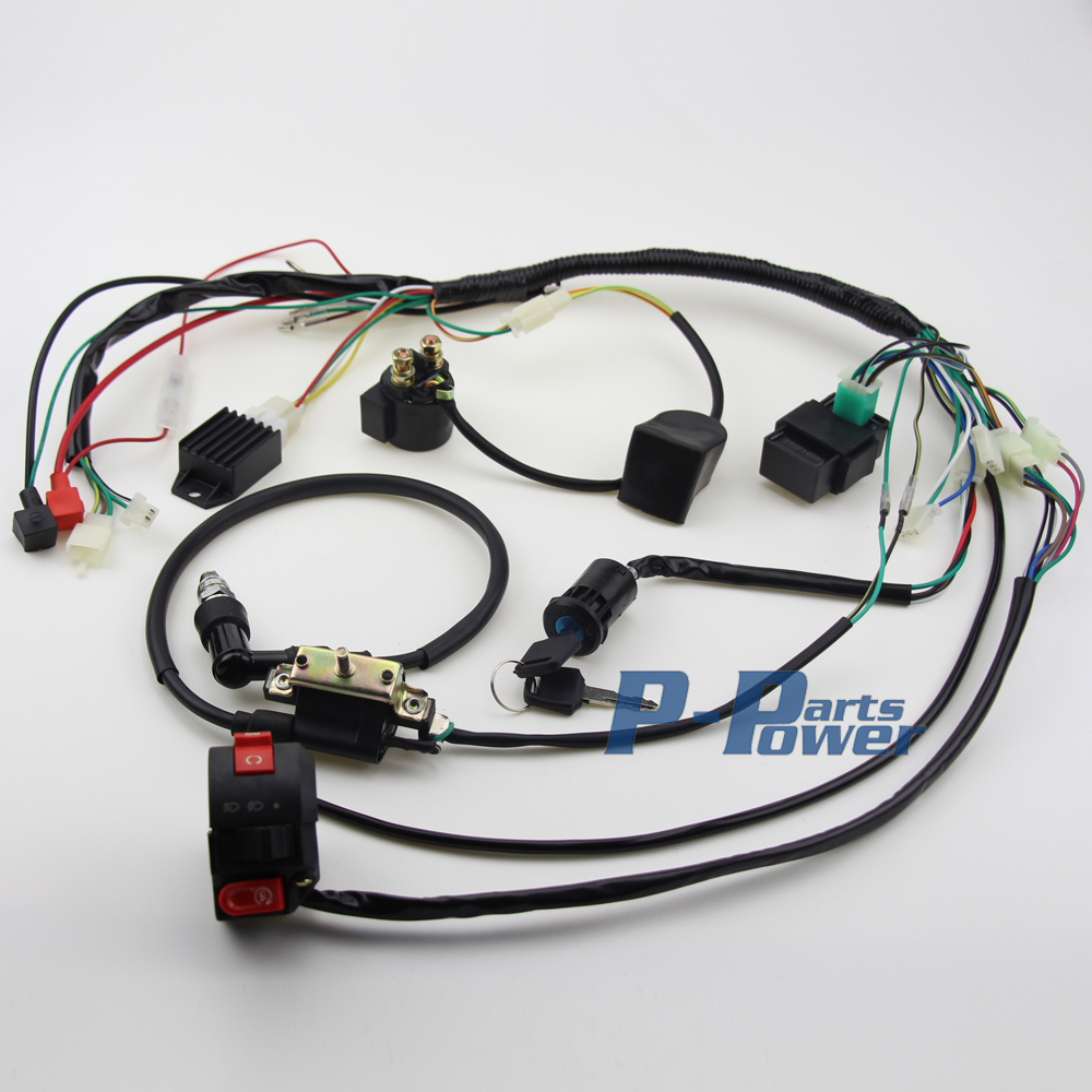 50CC 70CC 90CC 110CC FULL ELECTIECS WIRE HARNESS WIRING CDI ASSEMBLY ATV QUAD COOLSTER BUGGY GO aliexpress com buy 50cc 70cc 90cc 110cc full electiecs wire coolster 110 headlight wiring harness at readyjetset.co