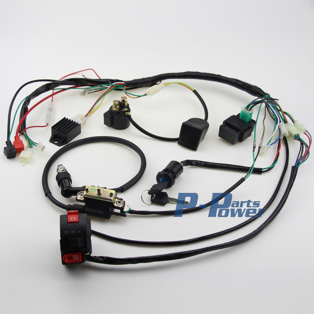 50cc 70cc 90cc 110cc full electiecs wire harness wiring ... 110cc quad wiring harness #9