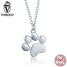 VOROCO 2018 Fashion Real 925 Sterling Silver Pet Dog Paw Footprints Cute Necklace Chain For Woman Pendant Jewelry BKN275 bamoer fashion genuine 925 sterling silver cute pet pussy cat chain pendant necklace for women sterling silver jewelry scn232