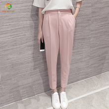 Hot Sale Harem Pants Spring Summer Women OL Pants Casual Harem Suit Pants Elastic Waist Pants Plus Size S-3XL Women Trousers cheap Ankle-Length Pants GECADYNY Fake Zippers Pockets Button Broadcloth Acetate Polyester COTTON High Pleated REGULAR Solid China (Mainland)