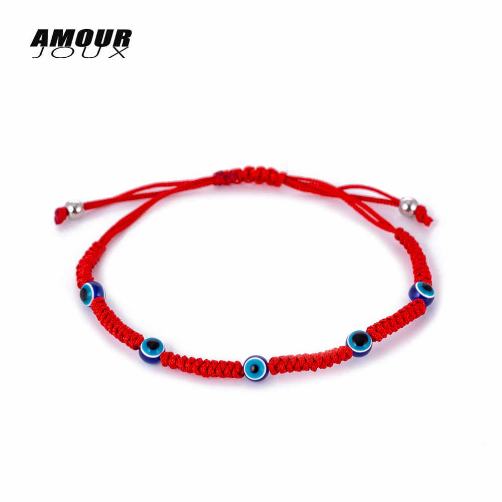 編組ロープトルコ邪眼チャームブレスレット調節可能な幸運ブレスレットのための女性の男性の子供赤糸アミュレットジュエリー