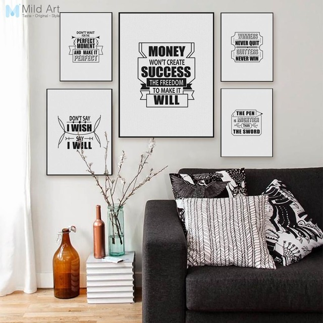 Vintage Black White Typography Success Quotes A4 Posters Nordic ...