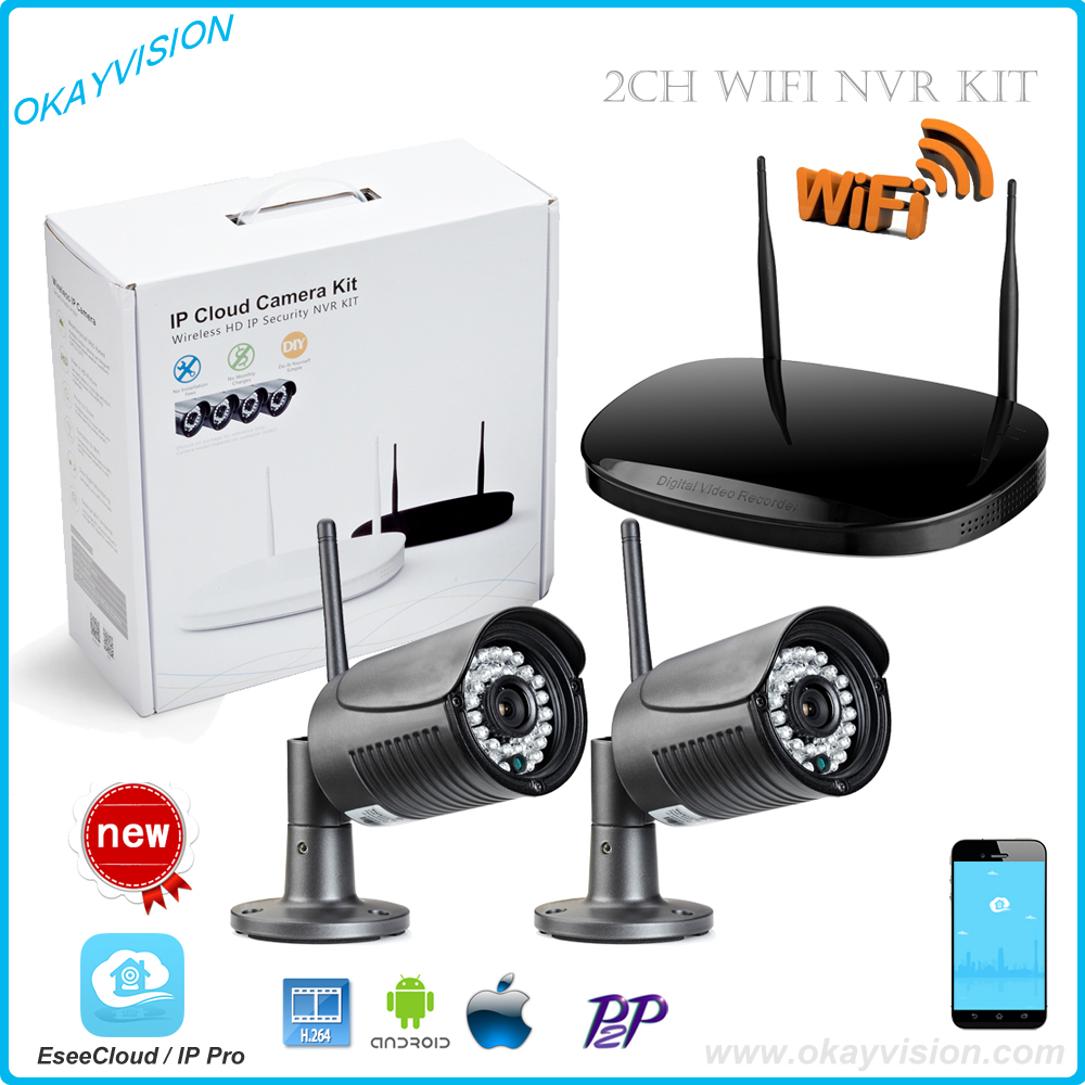 Wholesale  Plug And Play 2CH Wireless NVR CCTV System 720P IP Camera WIFI Waterproof IR Night Vision Home Security Camera Kit 8ch nvr kit 720p 3 6mm waterproof outdoor onvif ir ip camera 1 0mp and 8ch 1080p 720p nvr for cctv security system free shipping