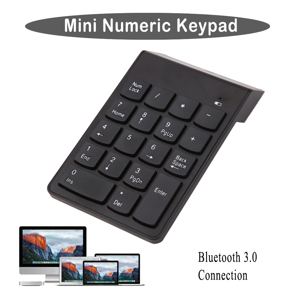18 Keys Wireless Bluetooth 3.0 Mini Numeric Keypad Number Pad Digital Keypad Ultra Slim For Win 7 Computer PC Laptop