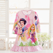 2017 Cartoon Snow White Design Girls Princess Pajamas High Quality Children Nightgown For Girls Sleepwear Dress Spring Pyjamas
