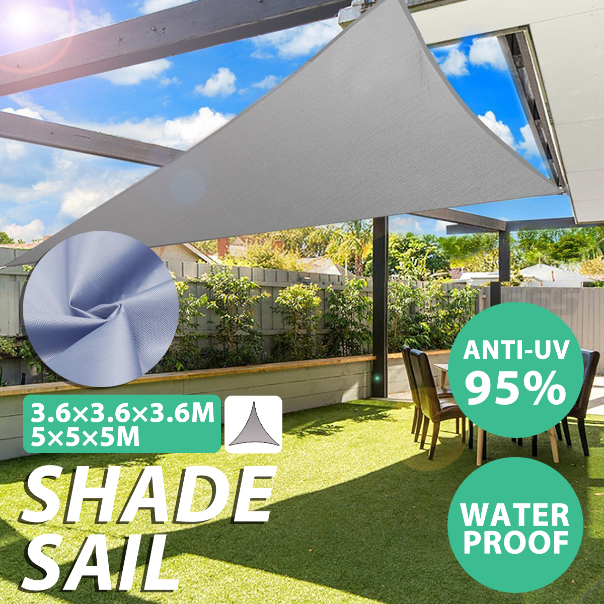 3.6m/5m Triangle Waterproof Sun Shield Shape Awning Cover Cap Outdoor Garden Shade Sails & Nets