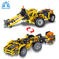 Qunlong 475pcs Technic Mining Engineering vehicle Building Brick Blocks Toys Compatible With Legoe Technic Car For Kids Gifts