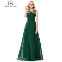 Grace Karin Appliques Green Evening Dress Chiffon Long Sleeveless V Back 2016 New Arrival Emerald Green