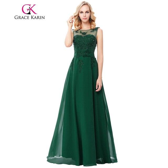 grace karin  Grace Karin Appliques Green Evening Dress Chiffon Long Sleeveless V ...