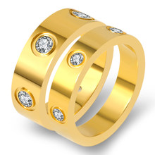 Fashion Cubic Zirconia Rings for Women Gold Color Stainless Steel Round Crystal Rings Men Charm CZ Rings Couple Jewelry()