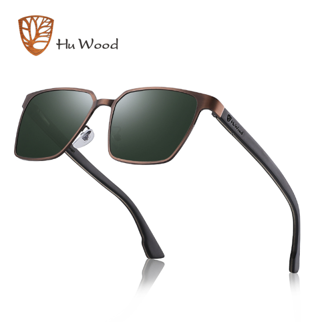 HU WOOD Metal Frame sunglasses spring wood Temple with polarized lenses and 4 colors and sunglasses for men and women GR8037