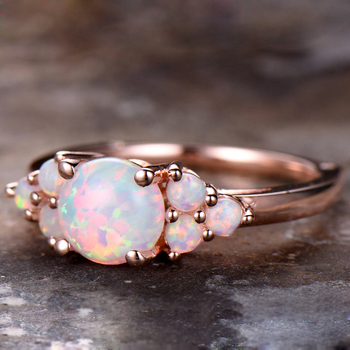 Natural 100% Oval Shape 8mm Austrialian Fire Opal Gemstone Ring in 14k Rose Gold with Gift Box For Women 2