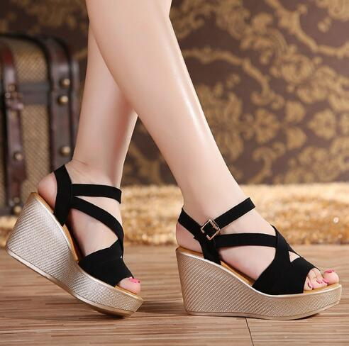 Women Sandals 2018 Summer New Open Toe Fish Head Fashion platform High Heels Wedge Sandals female shoes women platform shoes 2016 spring new european and american fashion shoes thick with fish head shoes nightclub new ultra high heels sandals b454