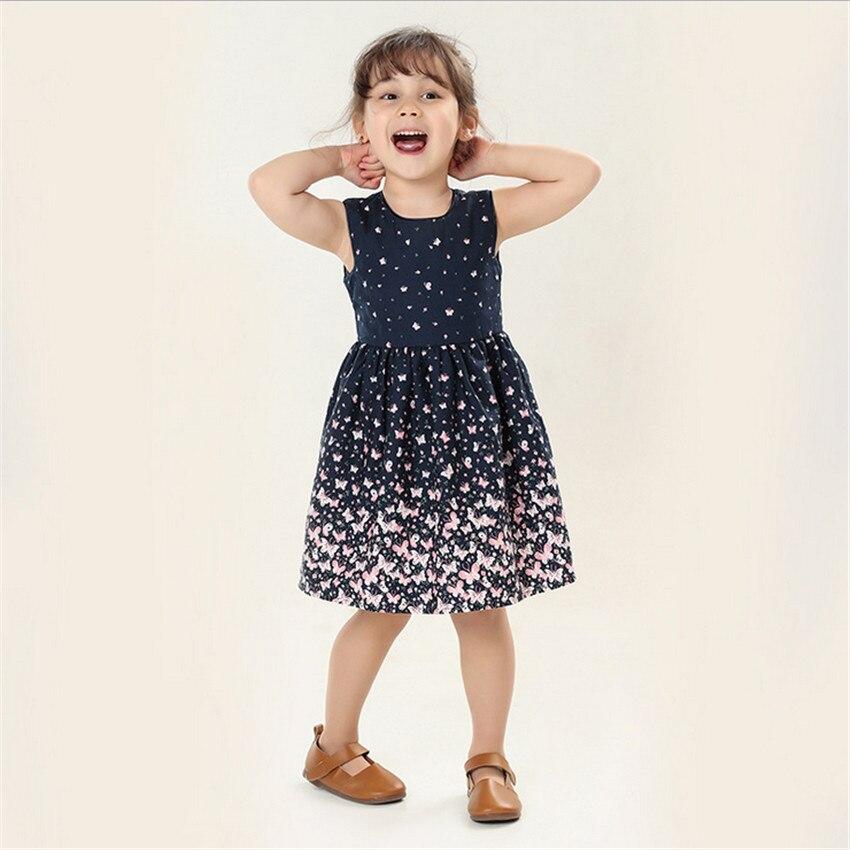 High Quality Summer Toddler Girl Dress Butterfly Print Navy Baby Girl Dress Children Infant Clothing Children Dress 2 9years