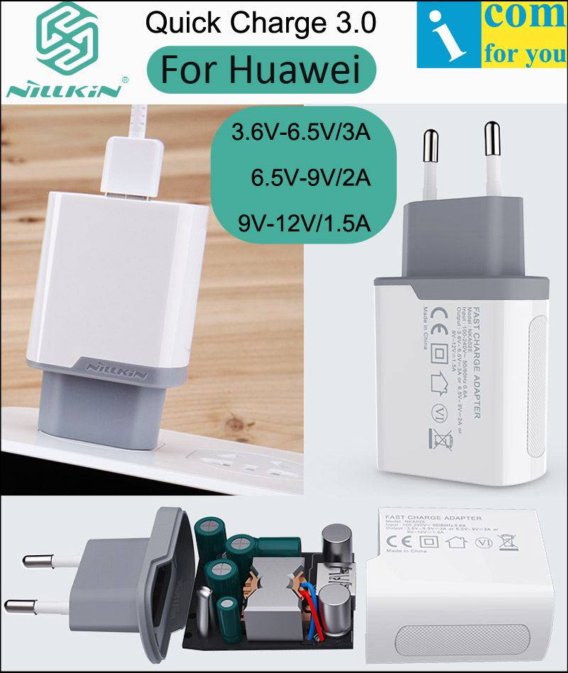 Nillkin Quick Charger 3.0 USB Wall Travel Charger For Huawei P20 Pro P10 Plus Mate10 9 Pro Fast Charging Plug Adapter Qualcomm