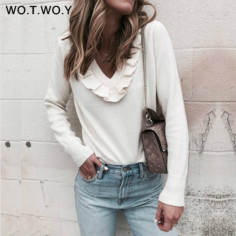 WOTWOY Ruches Pull En Cachemire Femmes Kintted Pulls 2018 Automne Hiver Laine Pull Femmes V-cou Rose Blanc Cavaliers