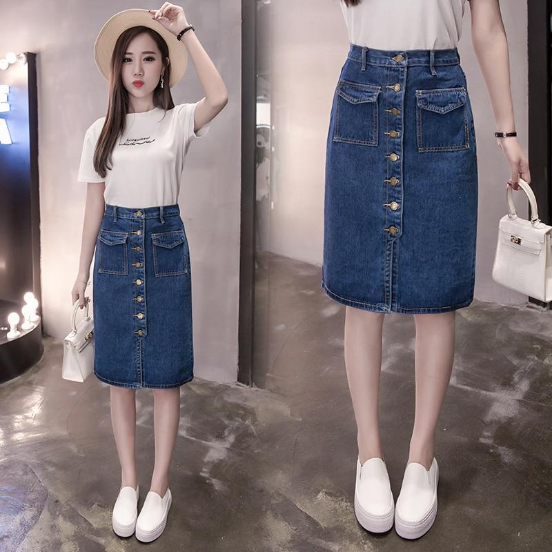 2018 Women Fashion A-Line Korean Jeans Skirt Thin Single Breast Button Slim Waist Denim Skirts Summer Sexy Skirt 5817