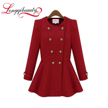 New Fashion Autumn Women Thick Woolen Coat Casual Slim Round Collar Skirt Hems Double Breasted Trench Coat Longqibeauty