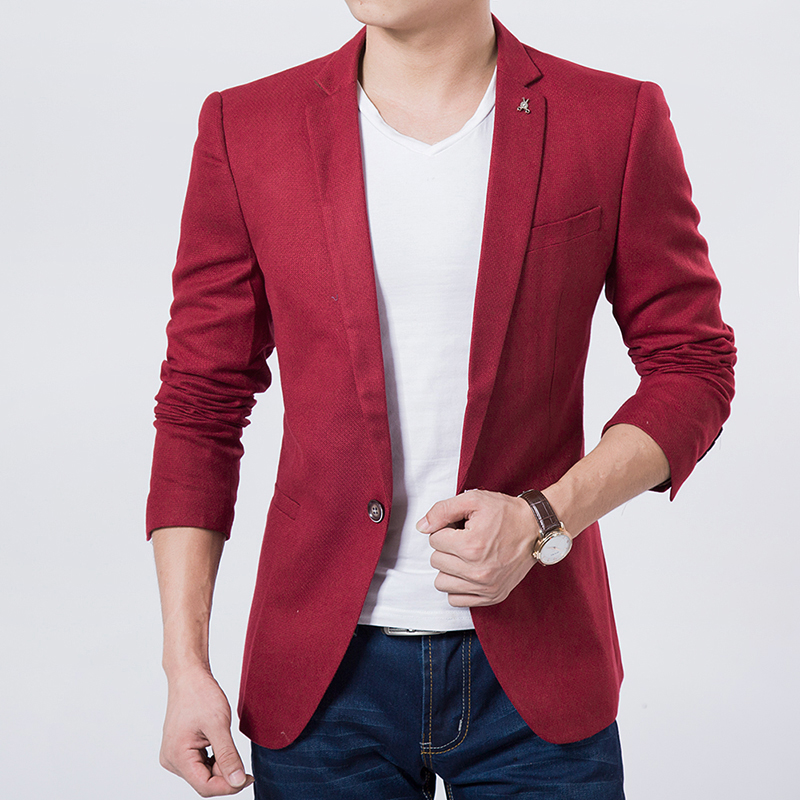 Popular Red Blazer for Men with Black Lapel-Buy Cheap Red Blazer ...
