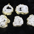 Thanksgiving Gifts! Plated Gold White Color Druzy Agate Drusy Quartz Drop Pendant Beads Cross Necklace On Sell 4pcs/lot