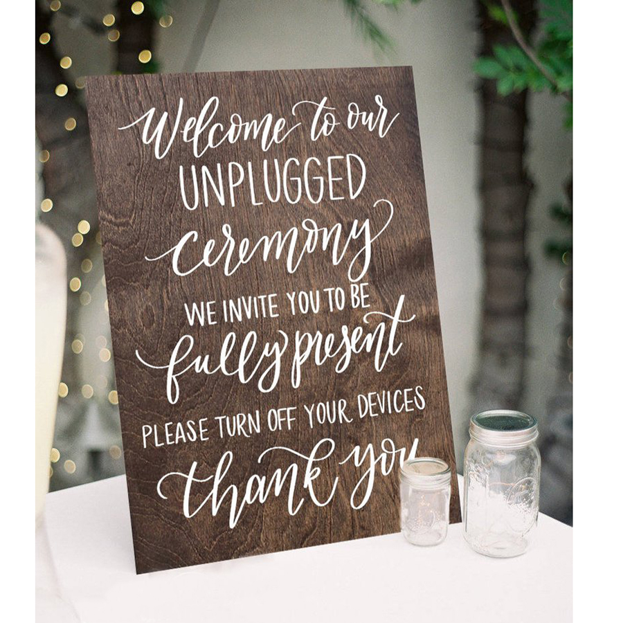 Wooden Unplugged Ceremony Sign Rustic Wooden Wedding Signs