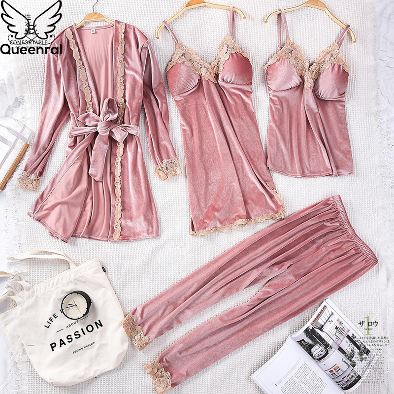 Queenral 4PCS Winter Pajamas Sets For Women Sleepwear Lingerie Pyjamas Gold Velvet Warm Pijamas Sexy Lace Robe Pajamas Nightwear