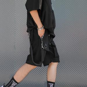 Image 2 - Men casual multi pockets ribbons hip hop punk cargo shorts streetwear mens hiphop skateboard short pants bermuda masculina