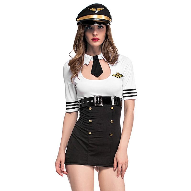 Female Pilot Astronaut Cosplay Service Stewardess Woman Costume