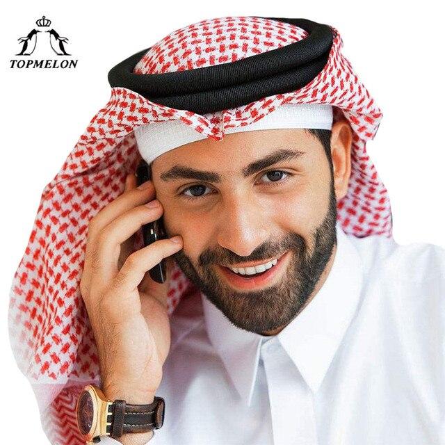 TOPMELON Arabic Muslim Hats Hijab for Men Plaids Cotton Red Grey White  Scarf Prayer Hats Muslim