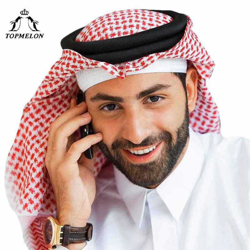 TOPMELON арабские мусульманские шляпы хиджаб для мужчин плед хлопок красный серый белый шарф молитва шапки мусульманская одежда
