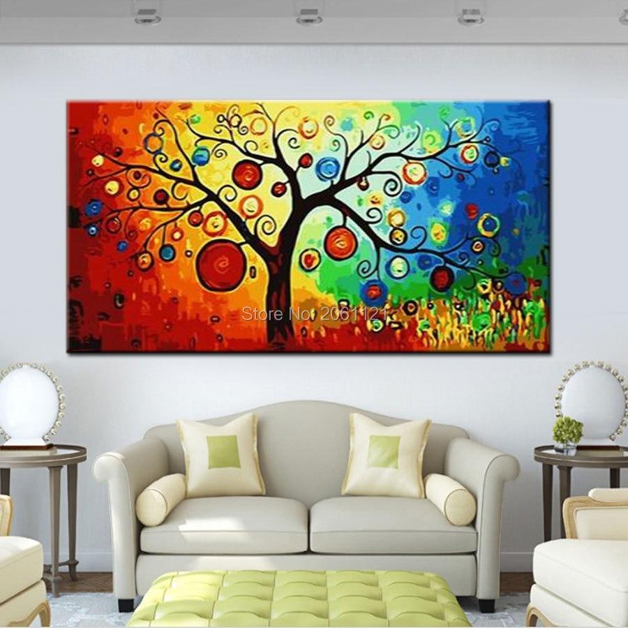 Высокое качество красивый современный абстрактный пейзаж дерево картина маслом на холсте Home настенные декоративные изображения дешево дл...