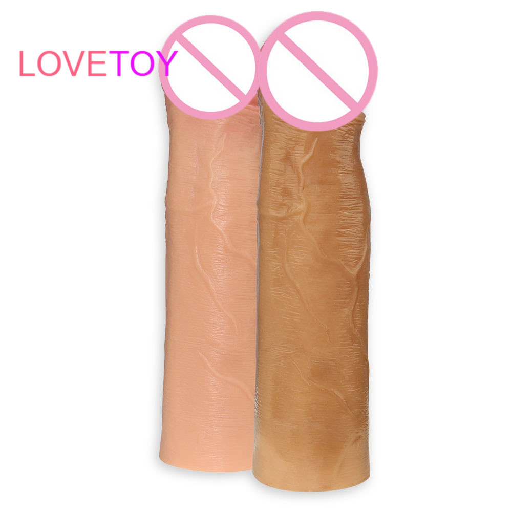 Lovetoy 17.8cm 100% Silicone Penis Extension Sleeve Condom Enhancer Super-Realistic Reusable Dildo Condoms Sex Toy For Men male penis sleeve extender reusable dual cock ring and penis sleeve condom sex toys for big dildo realistic transparent crystal