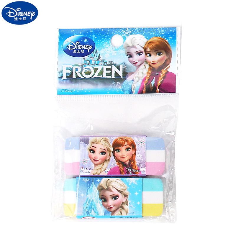 2 Pcs/lot  Disney Frozen Colorful Striped Pencil Eraser Student School Supplies Girl Stationery Gift Rubber
