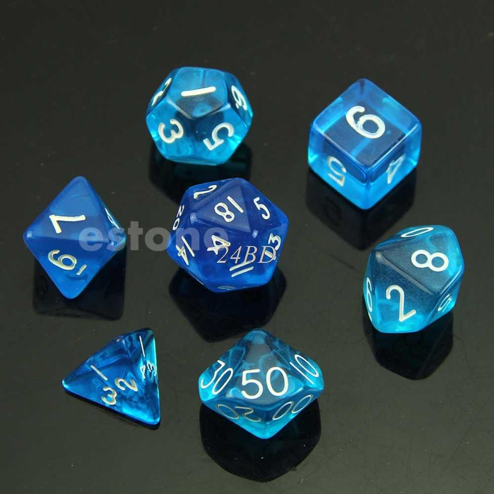 6 cor Dice Sided D4 D6 D8 D10 D12 D20 Magic-the-Coleta de D & D Poli Conjunto de Jogos de RPG 7 pçs/set A27