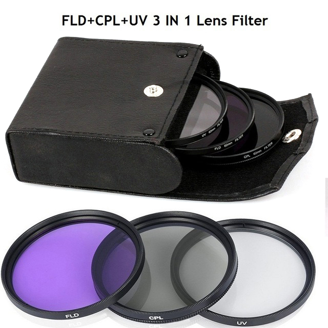 New 52MM-77MM UV Lens +CPL Lens+FLD Lens 3 In 1 Lens Filter Set With Bag For Cannon Nikon Sony Pentax Camera Lens Photography