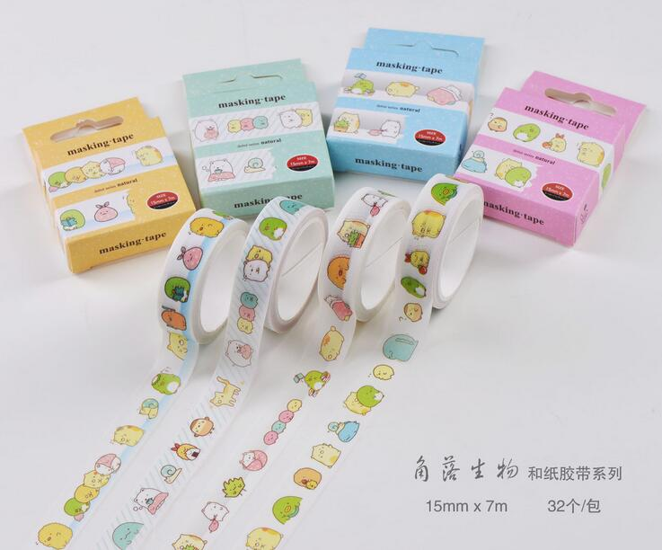 Love Sumikko Gurashi Washi Tape Adhesive Tape DIY Scrapbooking Sticker Label Masking Tape cute skull man figure doll cell phone straps grey 12 pack