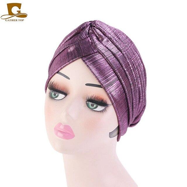 موضة جديدة معدني كشكش عمامة حك النساء أغطية الرأس قبعة مسلم أغطية الرأس Turbante الحجاب إكسسوارات الشعر
