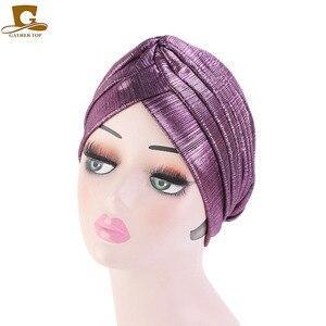 Image 1 - New fashion metallic ruffle turban Headwrap women headwear muslim hat Headwear Turbante Hijab Hair Accessories