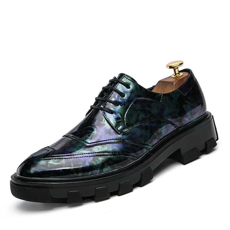Men's Shoes Luxury Brand Shoes Men Print Flower Footwear Male Platform Camouflage Formal Leather Dress Flat Mixed Colors Fashion Oxford Shoe