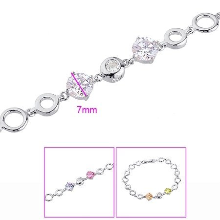 Wholesale - FREE SHIPPING!!! 24KGP PLATINUM 2.8 CT BRILLIANT CUT GEMSTONES CHAIN BRACELETS, COME WITH A BOX! (D1Y1069-A107(S)
