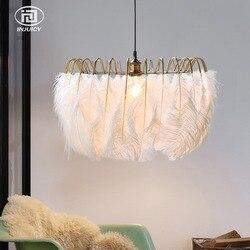 Loft nowoczesny prosty biały żyrandol z piór kreatywnych sztuki Bar Cafe Hotel salon sklep restauracja