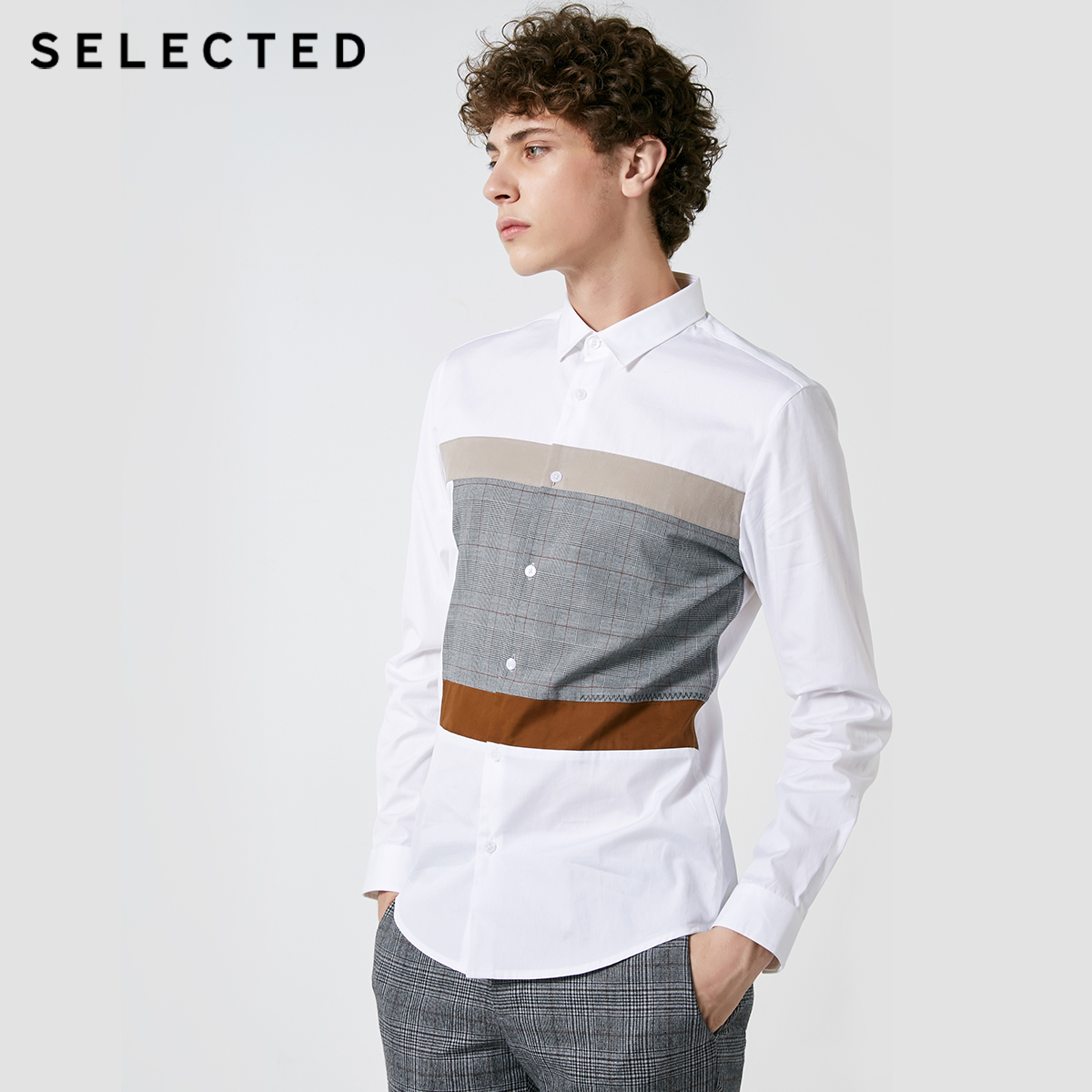 SELECTED New Mens Cotton Lattice Stitching Business Leisure Long Sleeve Shirt S  418405548Casual Shirts