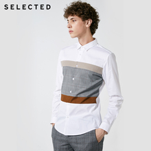 SELECTED New Mens Cotton Lattice Stitching Business Leisure Long Sleeve Shirt S